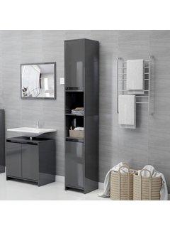 Badezimmerschrank Hochglanz-Grau 30x30x183,5 cm Spanplatte