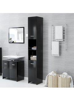 Badezimmerschrank Schwarz 30x30x183,5 cm Spanplatte