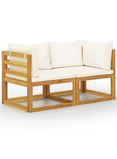 2-Sitzer-Gartenbank mit Cremeweißen Kissen