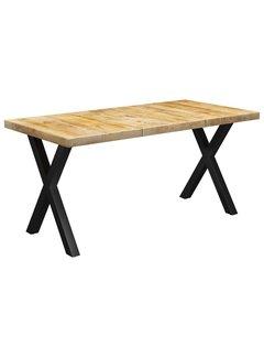 Esstisch mit Beinen in X-Form 160×80×77 cm Mango Massivholz
