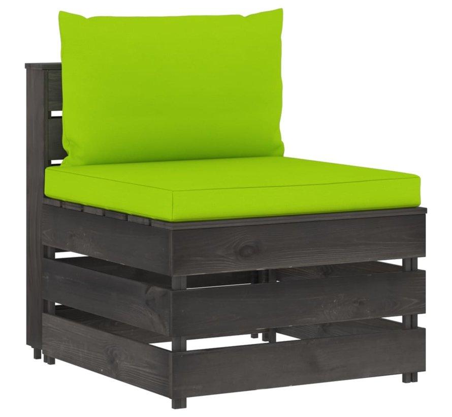12-tlg. Garten-Lounge-Set mit Kissen Grau Imprägniertes Holz