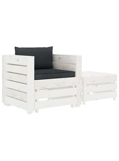 2-tlg. Garten-Lounge-Set mit Anthrazit-Kissen Holz