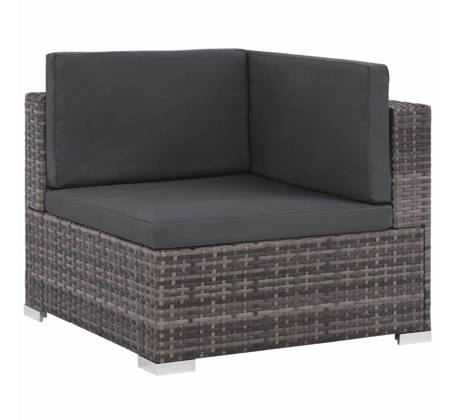 12-tlg. Garten-Lounge-Set mit Auflagen Poly Rattan Grau