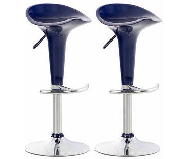 2er Set Barhocker Saddle Kunststoff blau
