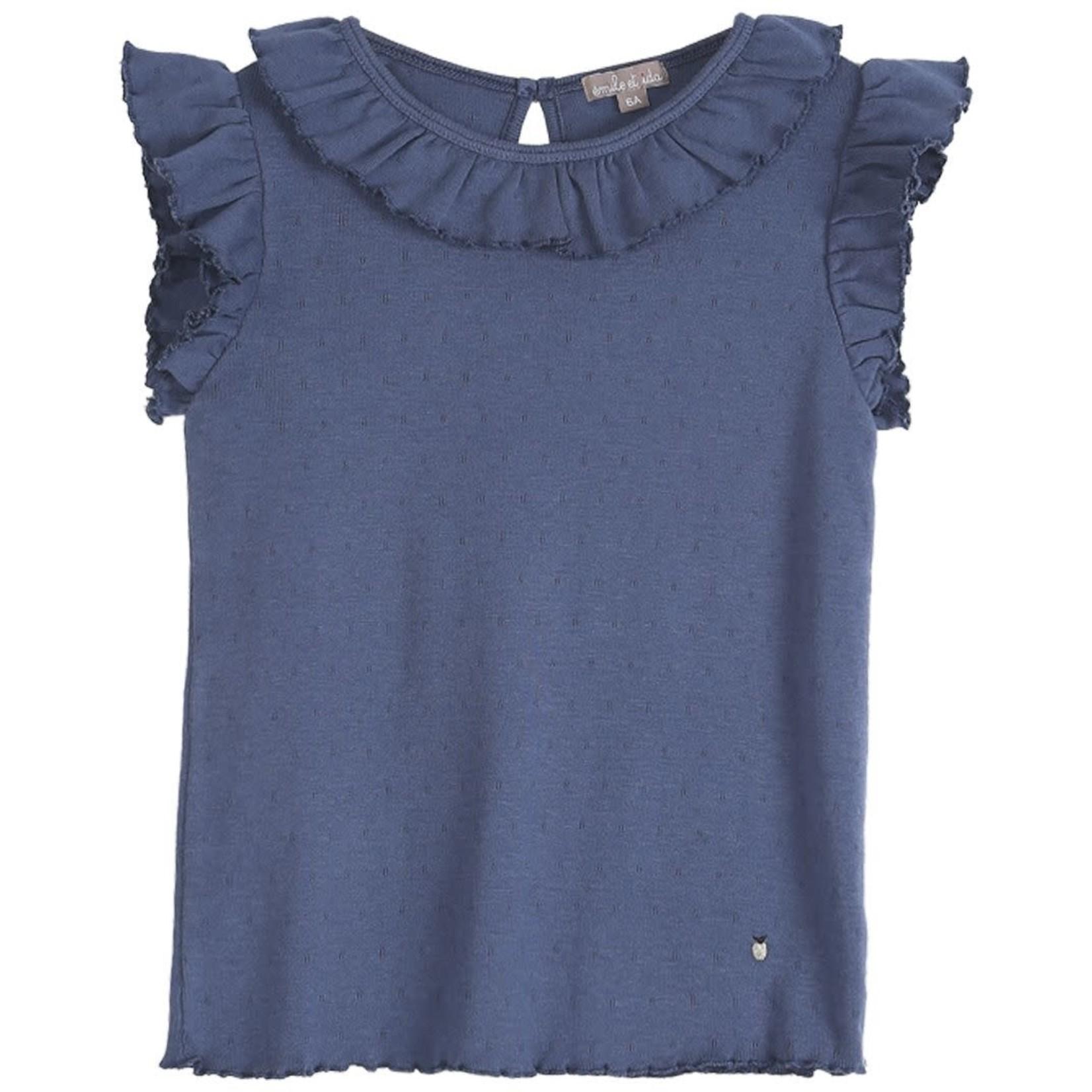 EMILE ET IDA EMILE & IDA NEW  t-shirt BLUE AJOURE