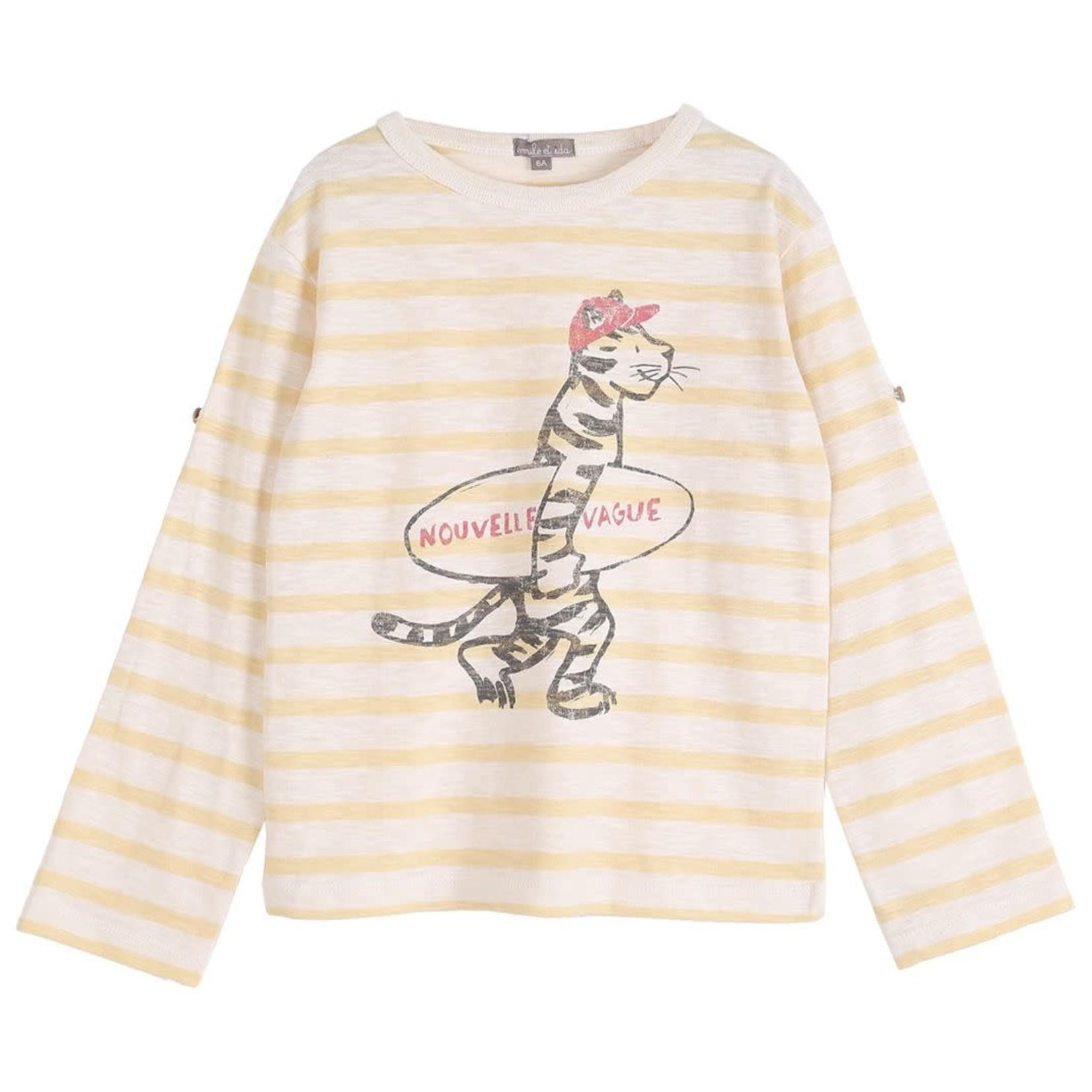 Emile ET ida EMILE & IDA NEW  t-shirt RAYE VANILLE