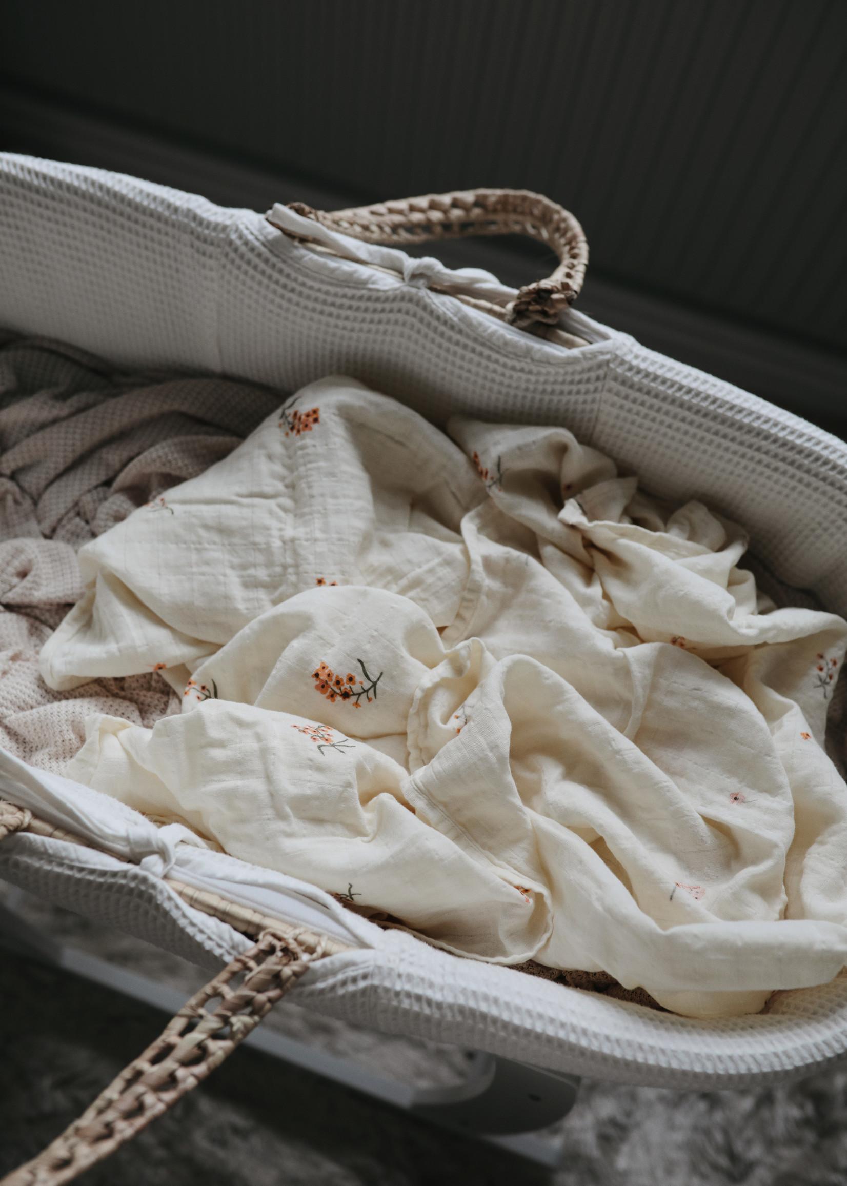 Mushie Muslin Swaddle Blanket Organic Cotton - Flowers