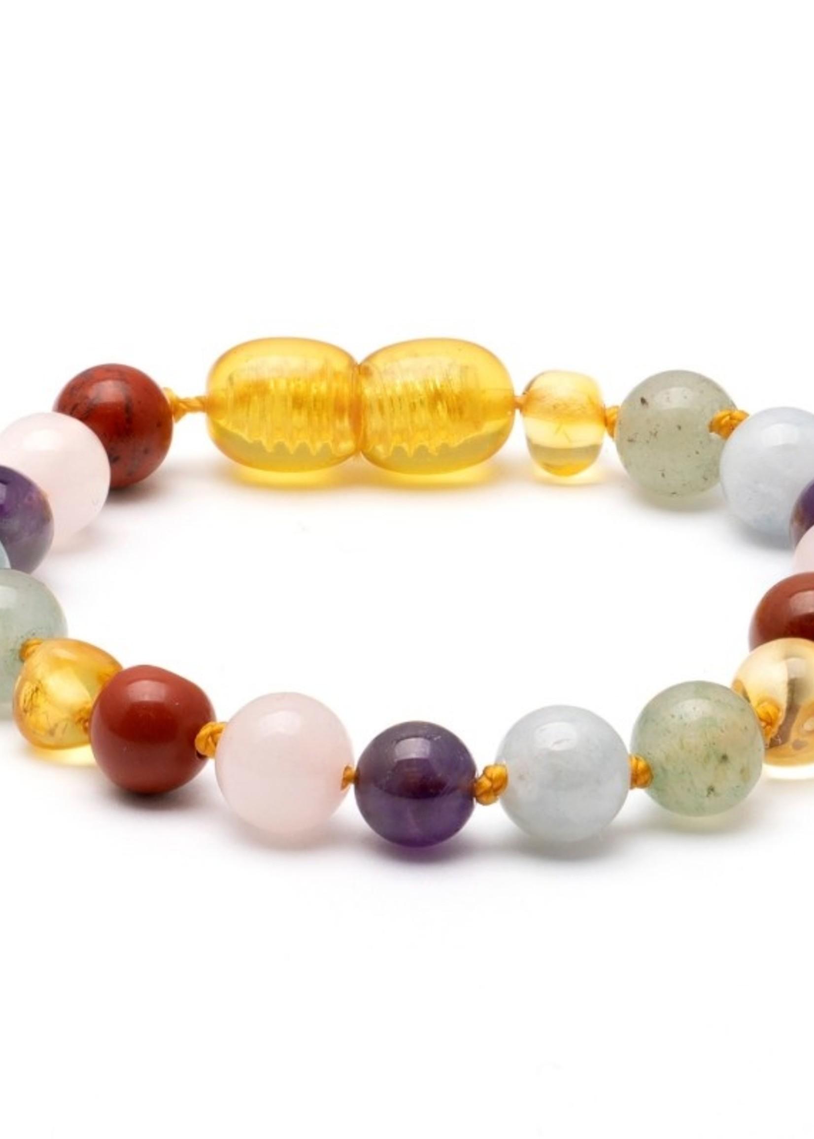 Amber Baroque Baltique Amber & Gemstone Teething Bracelet - Pastel