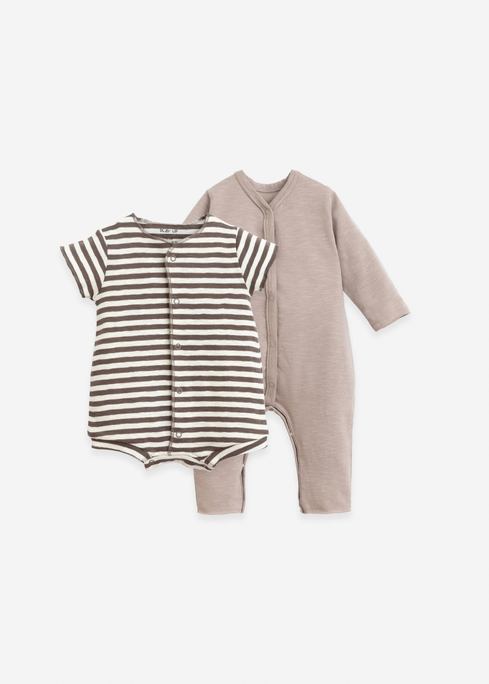 Play Up Pack of 2 -  Plain and Striped Babygrows - Pinha