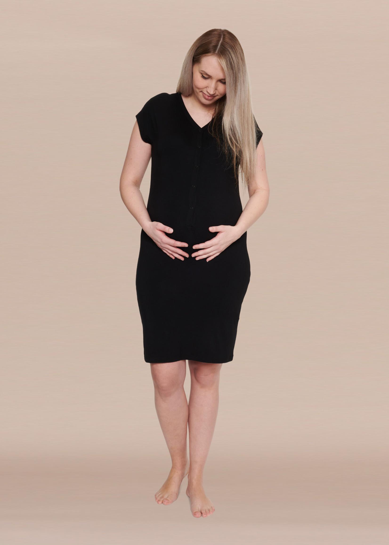 Het Bevallingsjurkje Zwart - Long Fit