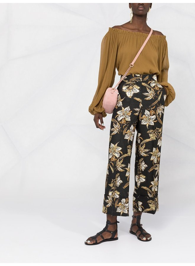 Structured Floral Printed Pants