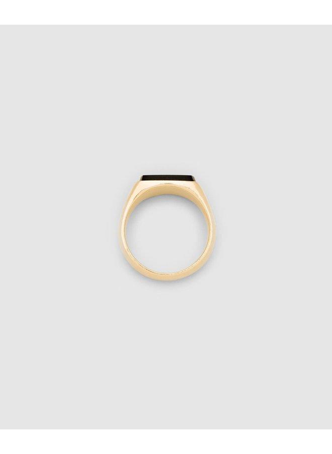 Cushion Gold Black Onyx Ring
