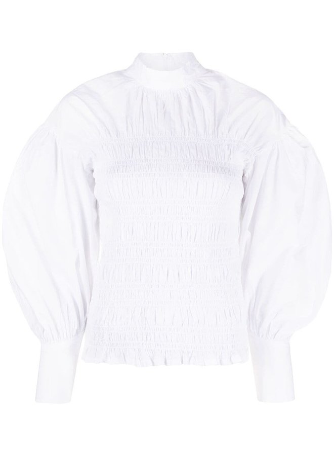 Cotton Poplin Ruched Blouse