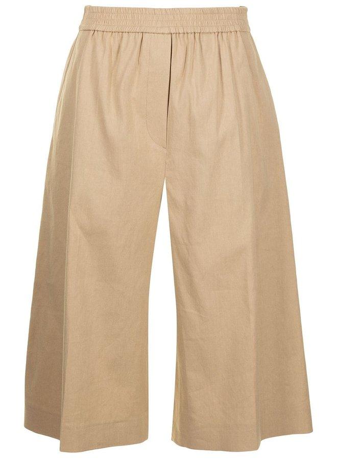 Tan Stretch Linen Cotton Shorts