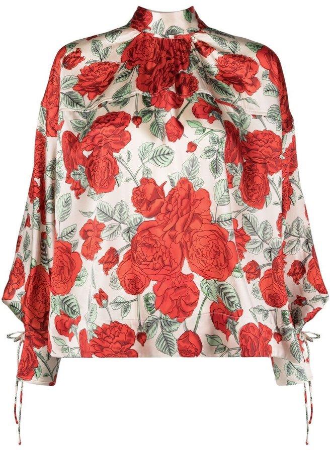 Silk Stretch Satin Floral Blouse