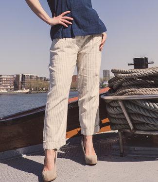 Brass Tacks Pants ivory white with blue stripe