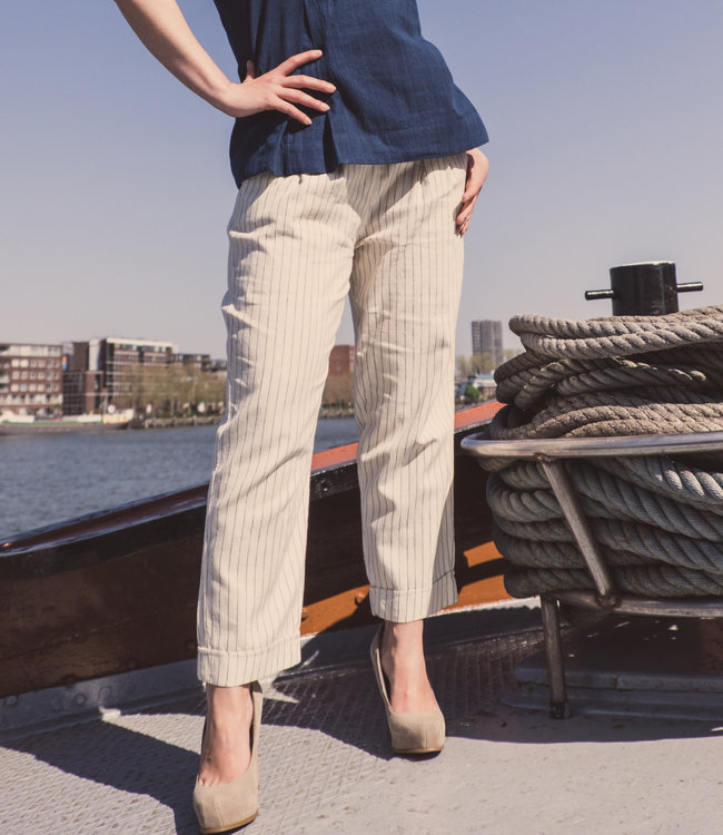 Brass Tacks Pants ivory white with blue stripe