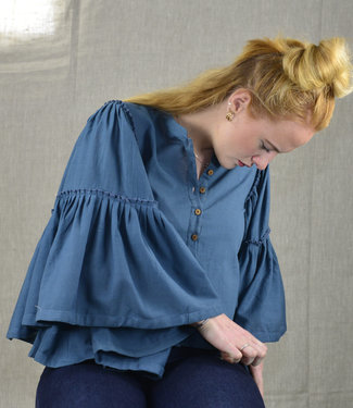 Rias Blouse blue-grey wide bell sleeves