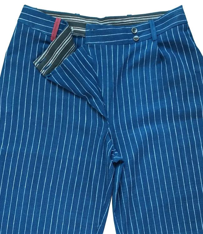 Brass Tacks Blauwe katoenen broek met wit streepje