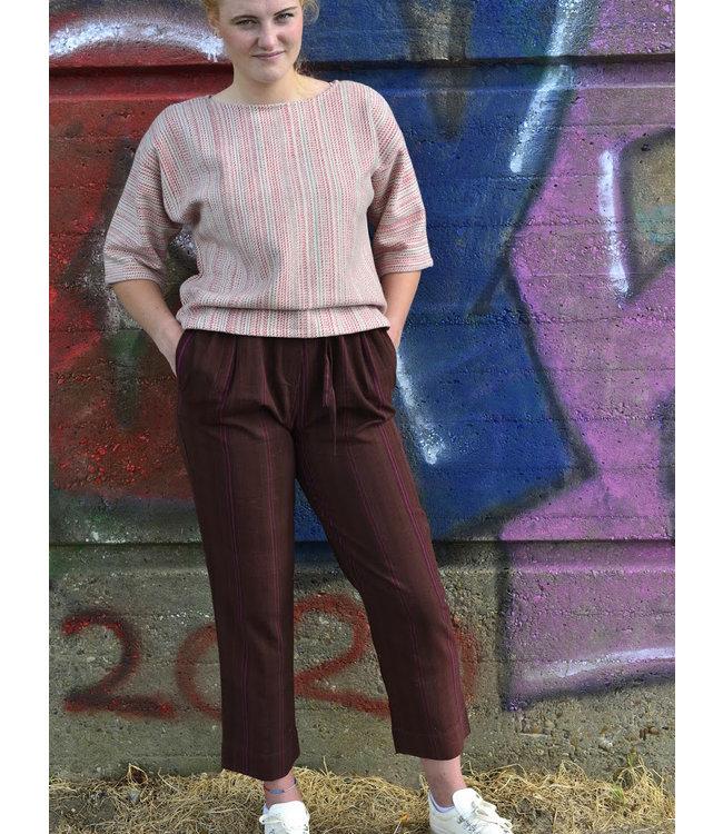 Brass Tacks Brown cotton pants with purple stripes