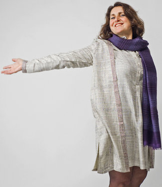 Via India Silk coat with print and embroidery