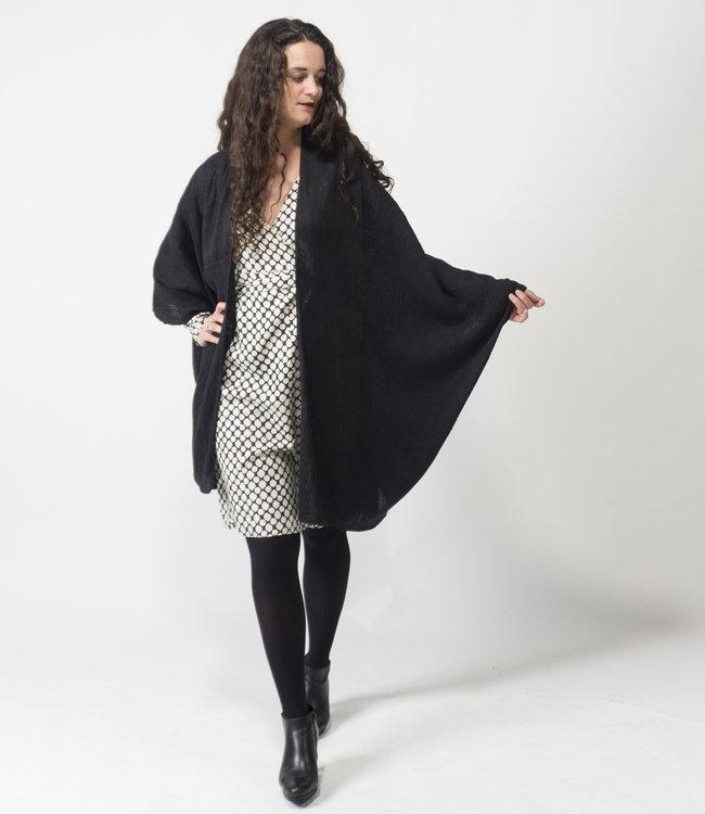 Akaaro Oversized cardigan black, wool & silk