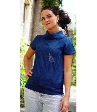 Upasana Cotton top indigo with cowl collar