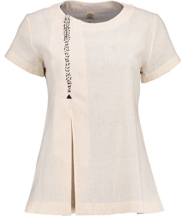 Upasana Top white cotton with embroidery