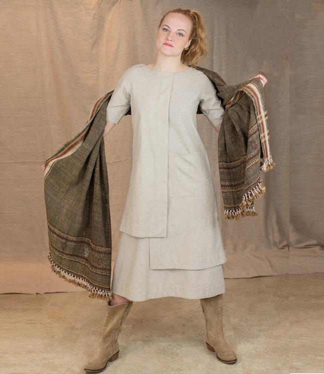 Upasana Long layered dress sand colour