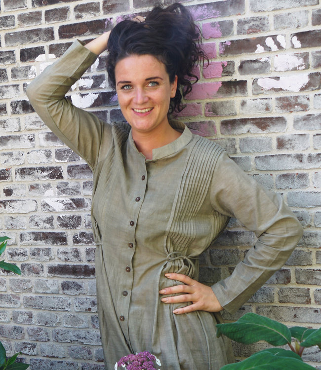 Upasana Green pleated button dress