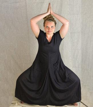 Upasana Zwarte jurk wilde zijde