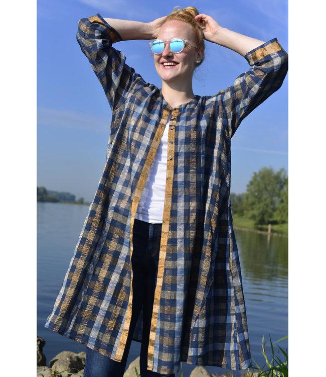 Karomi Tuniek katoen blauw met goud