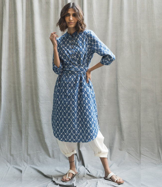 HOWS Blue cotton dress ikat