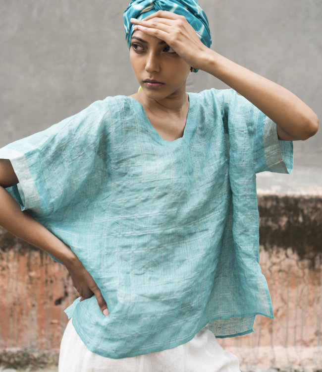 HOWS Linen top azure blue