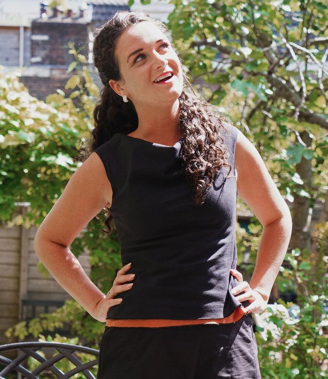 Upasana Sleeveless black top organic cotton