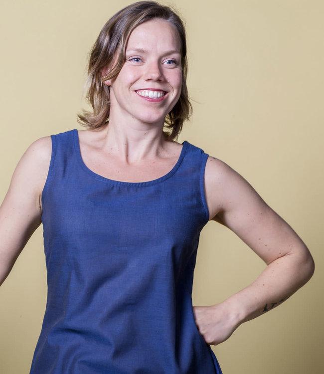 Upasana Dress blue sleeveless cotton
