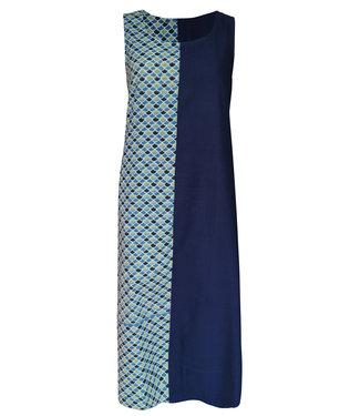 Upasana Blauw mouwloos jurkje printmotief