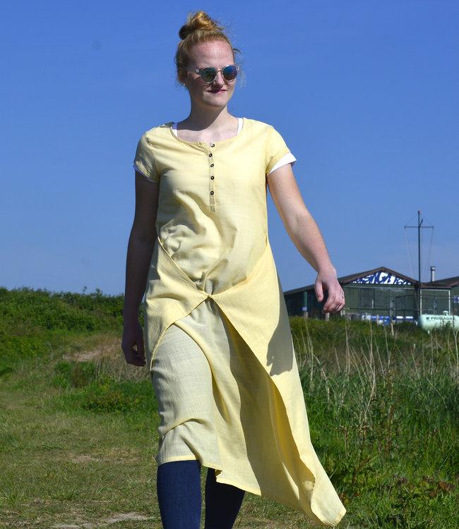 Upasana Lange jurk geel biokatoen