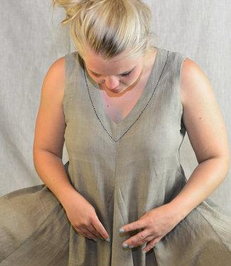 Upasana Mouwloze groene jurk biokatoen