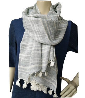 Avani Scarf linen light blue striped