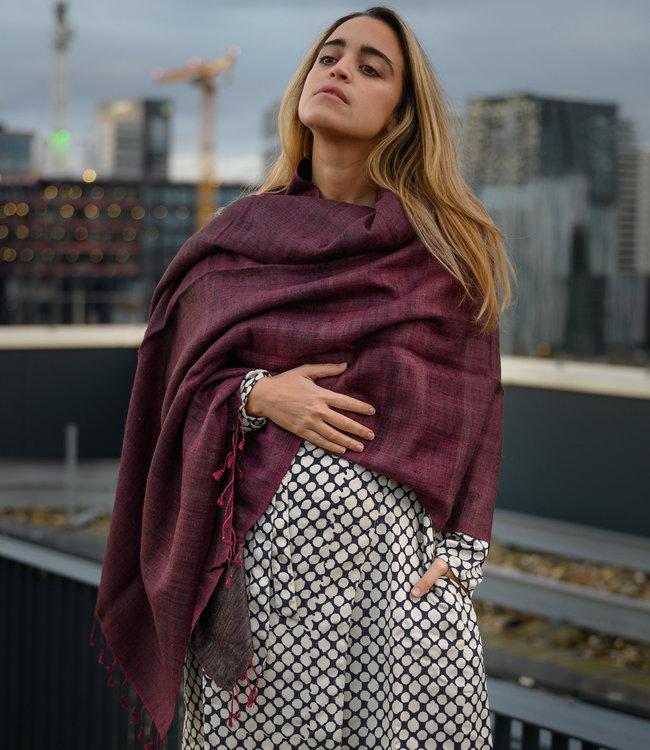 Avani Sjaal wol met zijde dieproze-bruin
