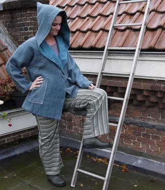 Avani Woolen coat with hoodie azure blue