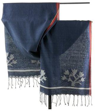 Upasana Sjaal katoen blauw met ingeweven motief