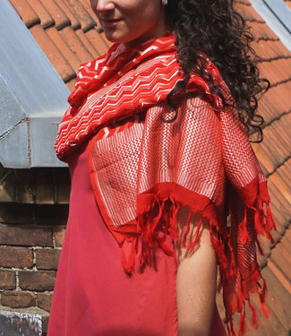 Upasana Bright red silk scarf with gold