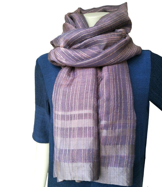 Amba Zijden sjaal lavendelkleur met metallic