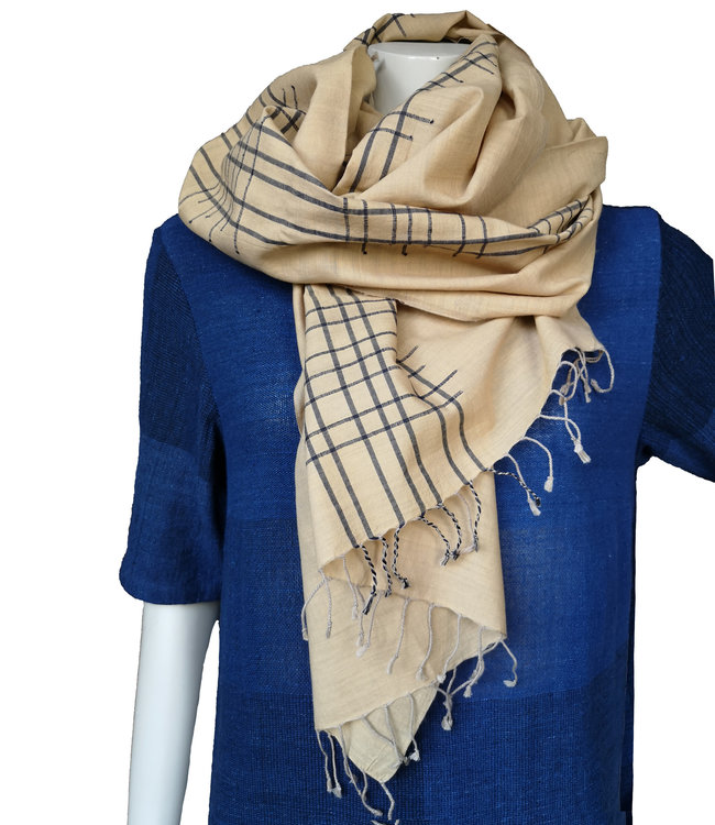 Amba Sjaal khaki, biologisch katoen