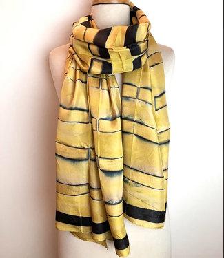 HOWS Zijden sjaal zijde geel-zwart