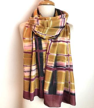 HOWS Zijden sjaal roze-geel