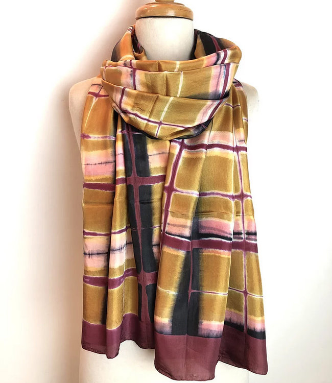 HOWS Silk scarf pink-yellow