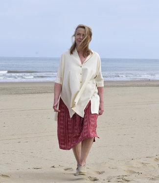 HOWS Red mid-length linen skirt